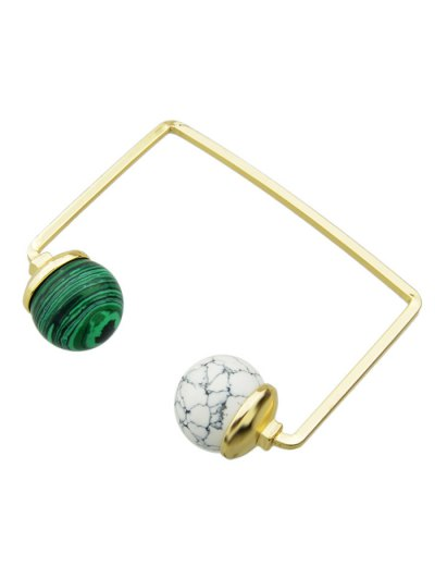 Artificial Gem Ball Cuff Bracelet - WHITE AND GREEN  Mobile