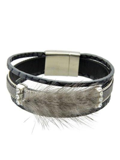Faux Leather Rhinestone Fuzzy Wrap Bracelet - GRAY  Mobile