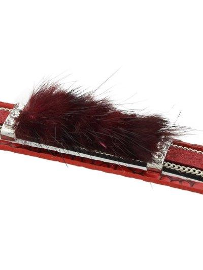 Faux Leather Rhinestone Fuzzy Wrap Bracelet - RED  Mobile