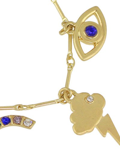 Rhinestone Star Moon Lightning Eye Bracelet - GOLDEN  Mobile