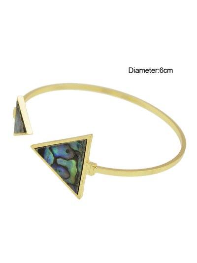Artificial Gem Triangle Vintage Cuff Bracelet - GOLDEN  Mobile