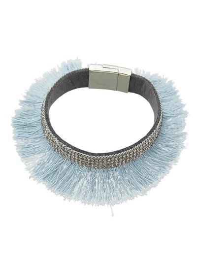Rhinestone Faux Leather Tassel Bracelet - BLUE  Mobile