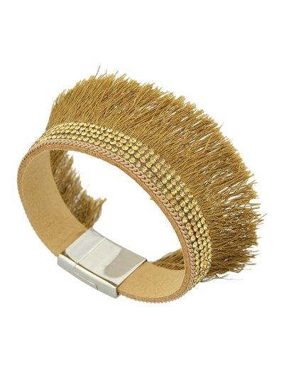 Rhinestone Faux Leather Tassel Bracelet - BROWN  Mobile