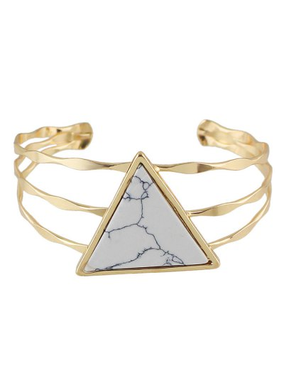 Faux Gem Triangle Cuff Bracelet - WHITE  Mobile