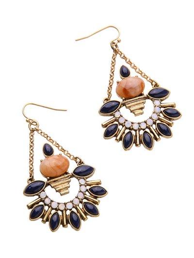 Artificial Gemstone Fan-Shaped Drop Earrings - GOLDEN  Mobile
