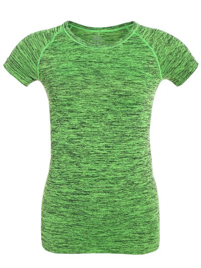 Space Dye Short Sleeve Sports Tee - NEON GREEN M Mobile