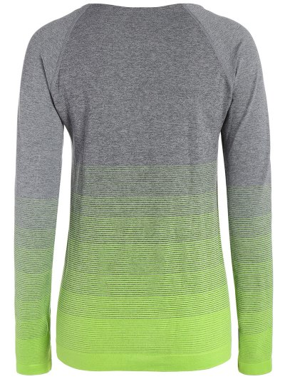 Long Sleeved Ombre Sports Tee - NEON GREEN S Mobile
