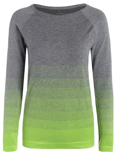 Long Sleeved Ombre Sports Tee - NEON GREEN M Mobile