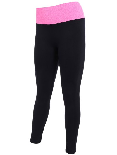 Tight Fit Active Leggings - BLACK AND ROSE RED S Mobile