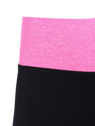 Tight Fit Active Leggings - BLACK AND ROSE RED L Mobile