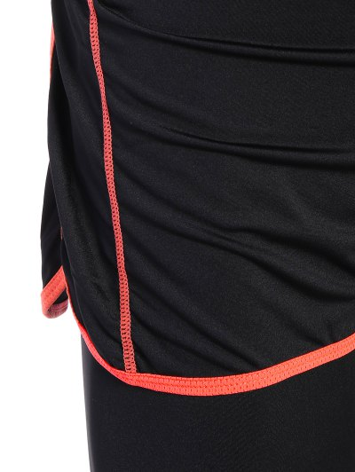 Tight Fit Capri Leggings With Shorts - BLACK AND ORANGE S Mobile