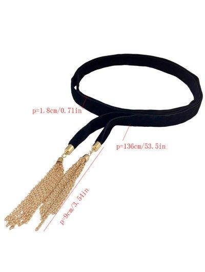 Chain Tassel Velvet Choker - BLACK  Mobile
