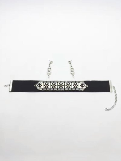 Faux Leather Rhinestone Vintage Choker Necklace - BLACK  Mobile