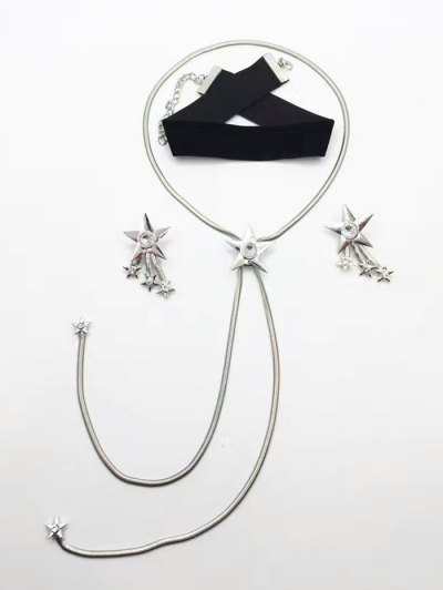 Star Rhinestone Choker Necklace and Earrings - SILVER  Mobile