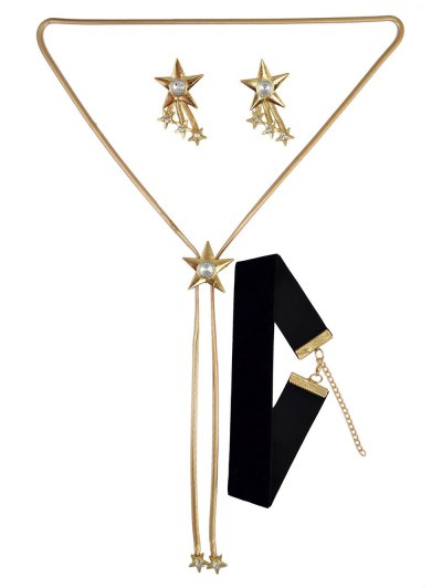 Star Rhinestone Choker Necklace and Earrings - GOLDEN  Mobile