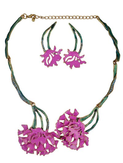 Rhinestone Flower Vintage Necklace and Earrings - TUTTI FRUTTI  Mobile