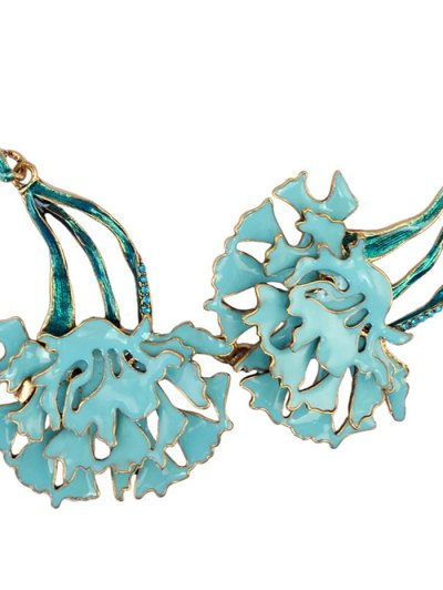 Rhinestone Flower Vintage Necklace and Earrings - BLUE  Mobile