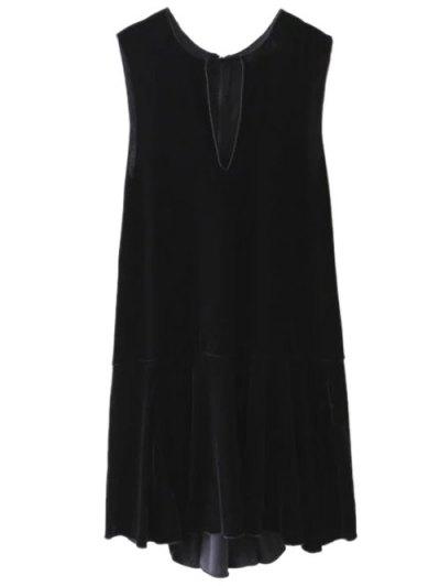 Frill Hem Velvet Tank Dress - BLACK M Mobile