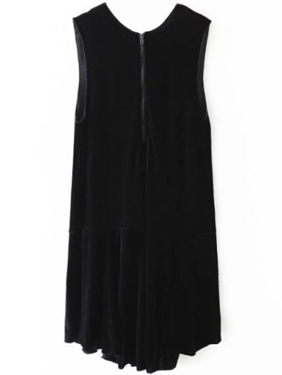 Frill Hem Velvet Tank Dress - BLACK L Mobile