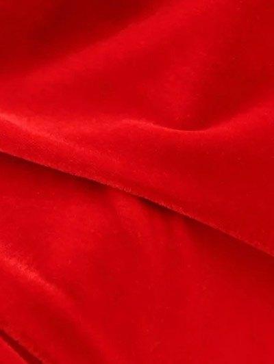 Frill Hem Velvet Tank Dress - RED S Mobile