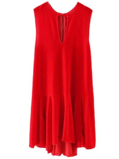 Frill Hem Velvet Tank Dress - RED M Mobile