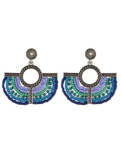 Beads Geometric Vintage Drop Earrings - BLUE  Mobile