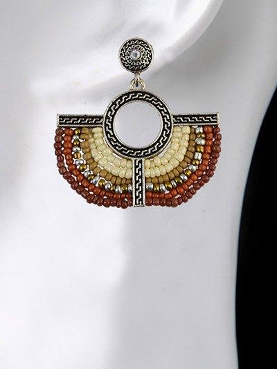 Beads Geometric Vintage Drop Earrings - BROWN  Mobile