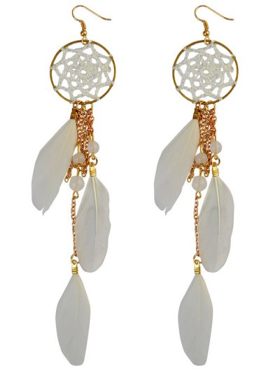 Beads Feather Bohemian Drop Earrings - WHITE  Mobile