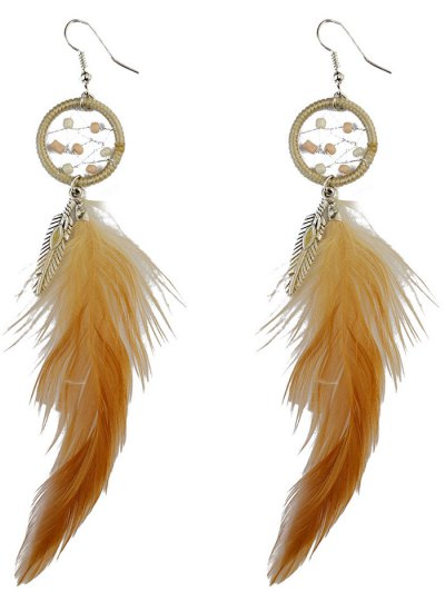 Feather Adorn Bohemian Drop Earrings - BROWN  Mobile