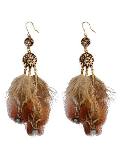 Rhinestone Floral Feather Bohemian Drop Earrings - GOLDEN  Mobile