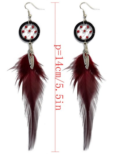 Feather Adorn Bohemian Drop Earrings - RED  Mobile