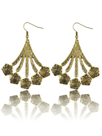 Vintage Floral Geometric Drop Earrings - GOLDEN  Mobile