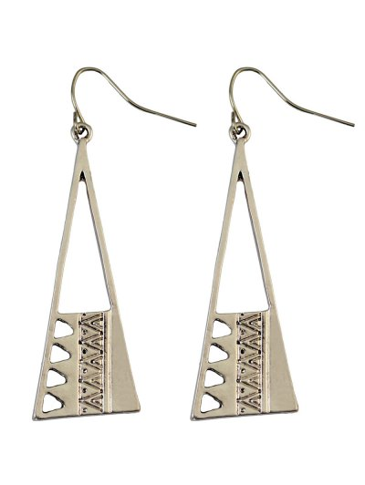 Vintage Triangle Drop Earrings - SILVER  Mobile
