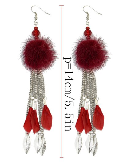 Feather Fuzzy Ball Drop Earrings - SILVER AND RED  Mobile
