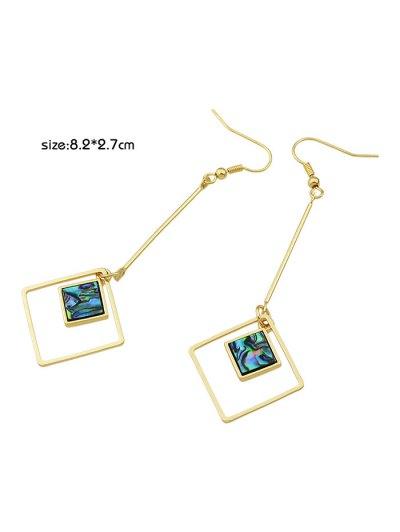 Faux Gem Square Vintage Drop Earrings - GOLDEN  Mobile
