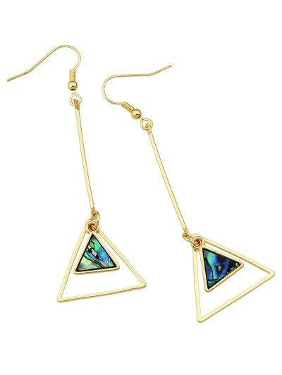 Faux Gem Triangle Vintage Drop Earrings - GOLDEN  Mobile