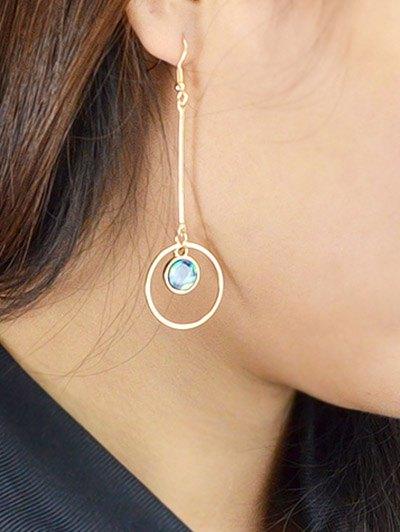 Faux Gem Circle Vintage Drop Earrings - GOLDEN  Mobile