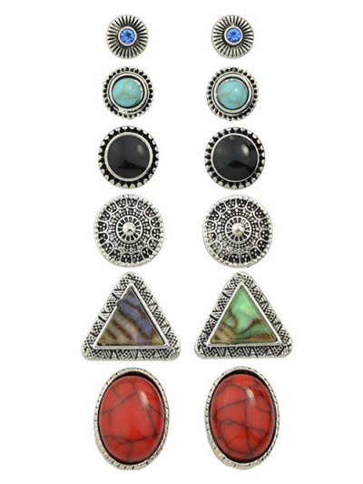 Faux Turquoise Rhinestone Circle Earring Set - SILVER  Mobile