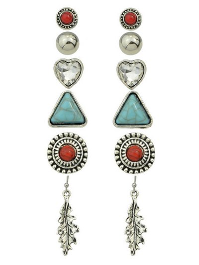 Faux Turquoise Rhinestone Heart Earring Set - SILVER  Mobile