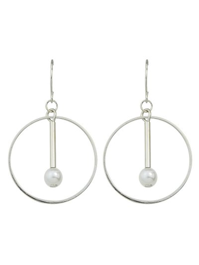 Faux Pearl Circle Drop Earrings - SILVER  Mobile