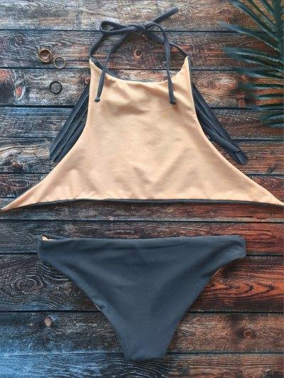 High Neck Double Side Fringed Bikini - GRAY S Mobile