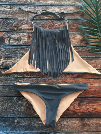 High Neck Double Side Fringed Bikini - GRAY L Mobile