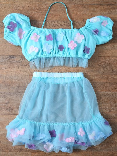Tulle Three Piece Bikini - LIGHT BLUE L Mobile