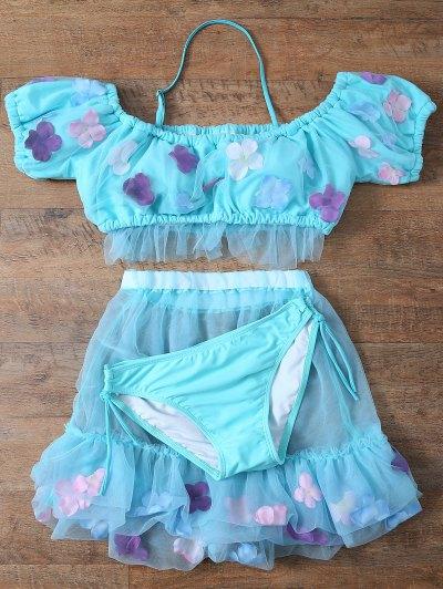Tulle Three Piece Bikini - LIGHT BLUE XL Mobile