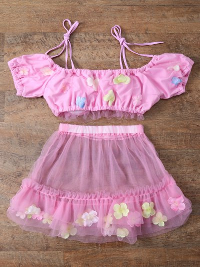 Tulle Three Piece Bikini - PINK S Mobile