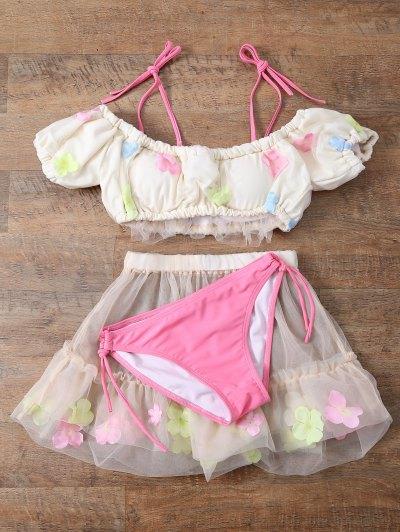 Tulle Three Piece Bikini - OFF-WHITE L Mobile