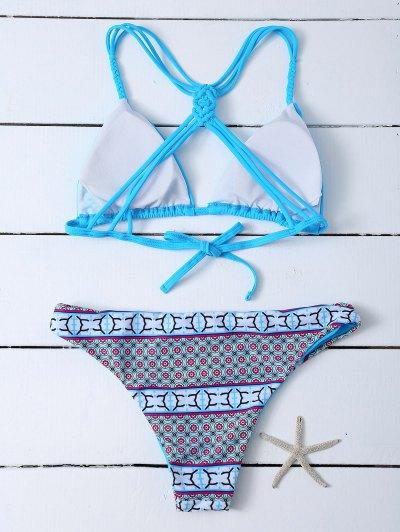Printed Macrame Bikini Set - BLUE S Mobile
