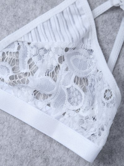 Sheer Lace Plunge Bra - WHITE S Mobile