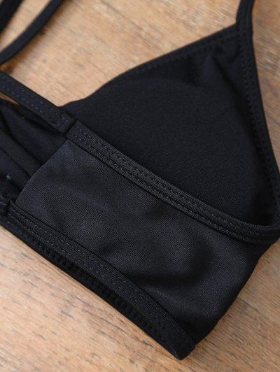 Leaf Print High Waisted Bikini - BLACK S Mobile