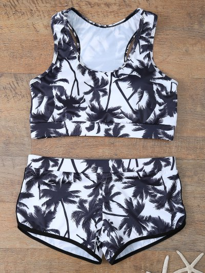Palm Tree Print Boyshort Bikini - WHITE AND BLACK S Mobile